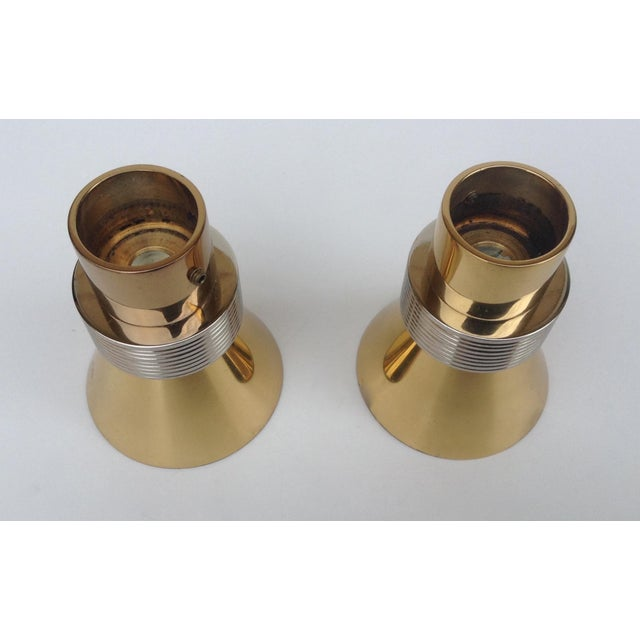 German Polished Brass and Chrome Drapery Finials - A Pair For Sale - Image 10 of 11