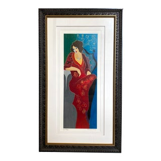 Itzchak Tarkay Limited Edition Pencil Signed Serigraph Print For Sale