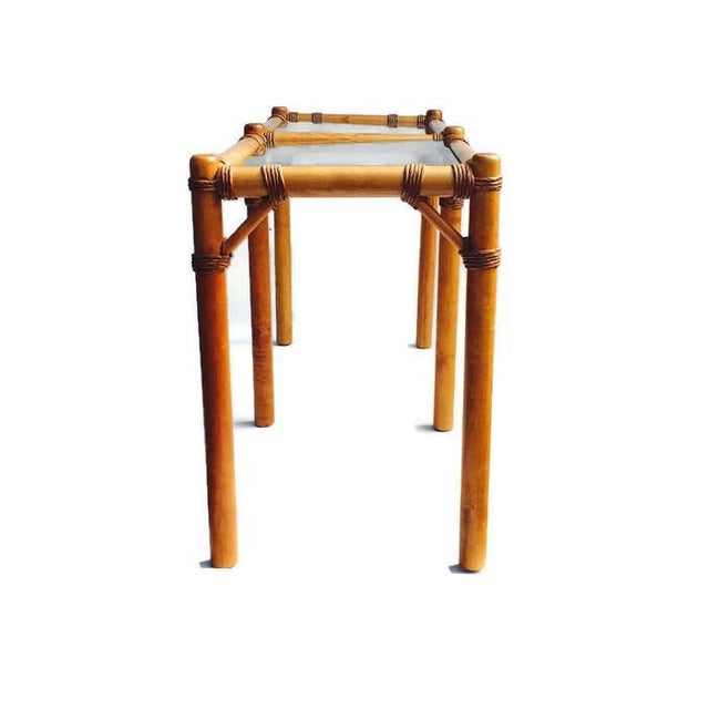"Vintage Safari Campaign Sofa Table Console Table Smokey Glass - 50"" For Sale - Image 9 of 11"