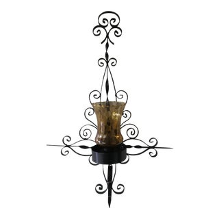 Vintage 1970s Black Metal Candle Wall Sconce For Sale