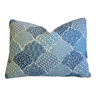 "Lisa Fine Textiles Blue Linen Feather/Down Pillow 22"" X 16"" For Sale"