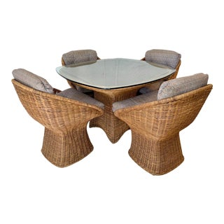 Vintage Wicker Dining Set-4 Chairs and Table For Sale