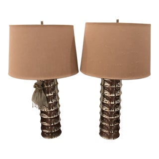 Taupe Shade Modern Lamps - A Pair
