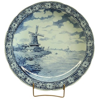 Plate Boch Signed Chattel Blue Delft Windmill For Sale