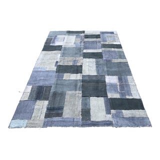 1960s Turkish Handmade Blue Patchwork Hemp Rug