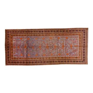 "20th Century Boho Chic Orange and Purple Khotan Wool Rug - 4'3""x9'7"""