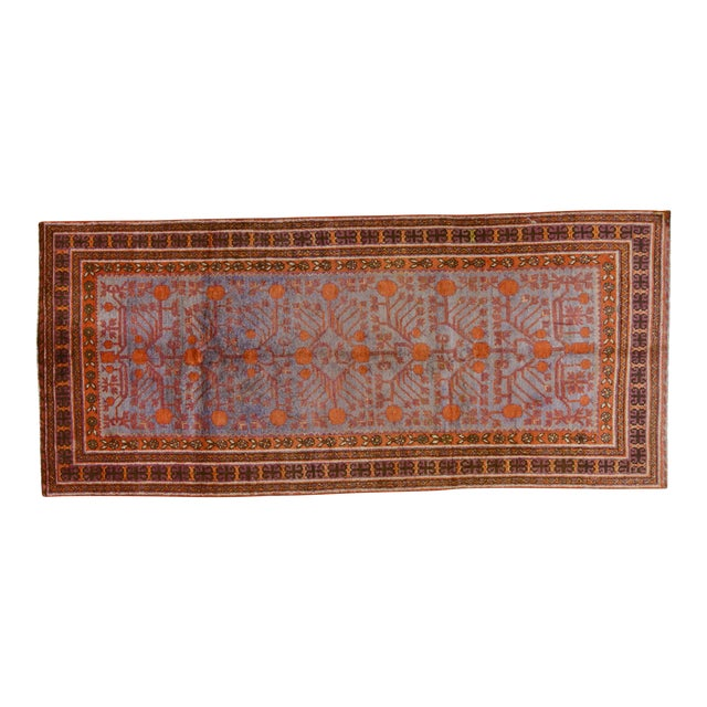 "20th Century Boho Chic Orange and Purple Khotan Wool Rug - 4'3""x9'7"" - Image 1 of 5"