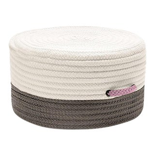 Color Block Gray & Pink Pouf