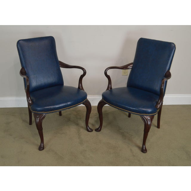 High Quality Vintage Pair of Solid Mahogany Frame Armchairs with Blue Vinyl Upholstery