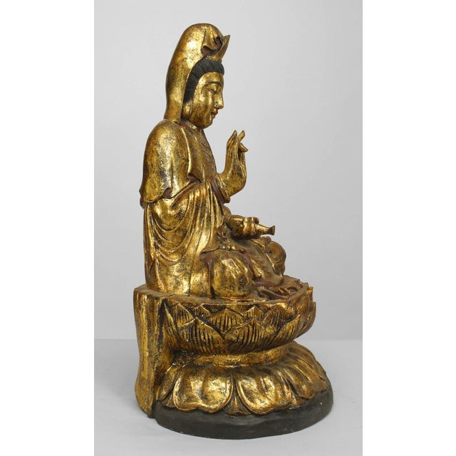 Asian Chinese Gilt Carved Figure of Seated Guan Yin Buddha on a Lotus Base For Sale - Image 4 of 6