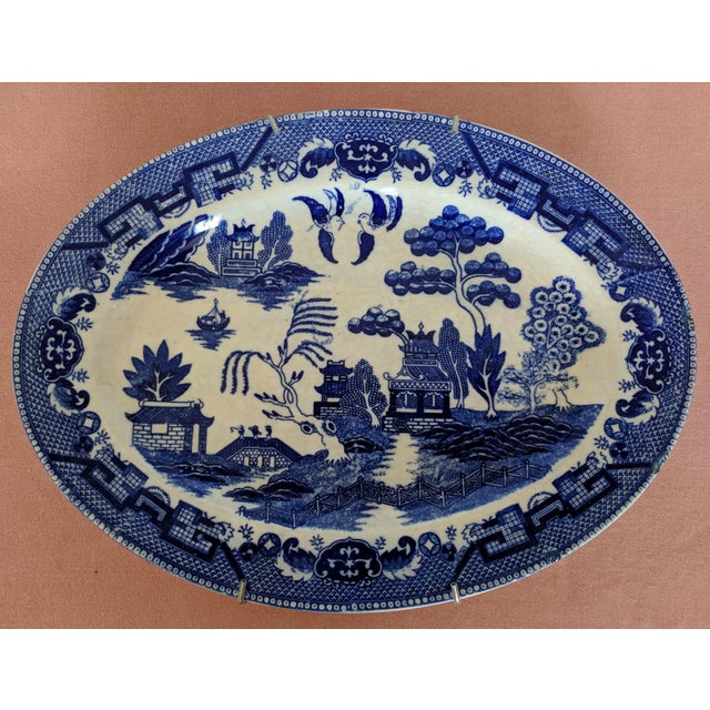 Vintage Blue Willow Pagoda Decorative Platter With Hanger For Sale - Image 9 of 10