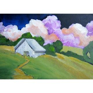 California Landscape Santa Cruz Hills Barn Painting For Sale