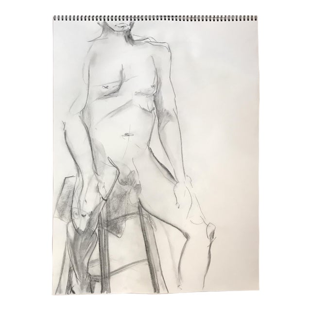 Seated Male Nude Drawing For Sale