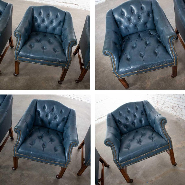 Blue Blue Vinyl Faux Leather Chinese Chippendale Tub Style Rolling Game Chairs Set of Four For Sale - Image 8 of 13
