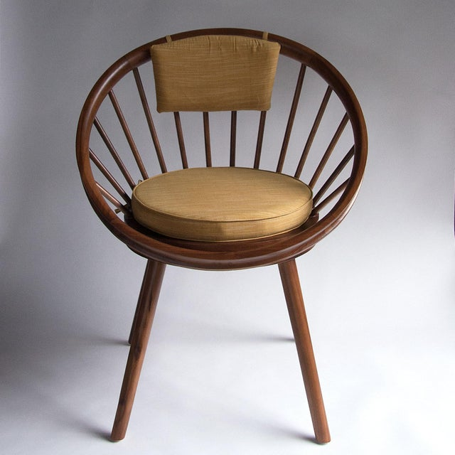 Yngve Ekstrom Design Teak Circle Chair With Cushions - Image 4 of 5
