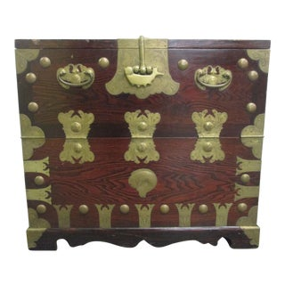 Korean Elm Tansu Chest With Brass Hardware For Sale