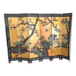 Six Panel Chinese Coromandel Gilt and Lacquer Screen For Sale