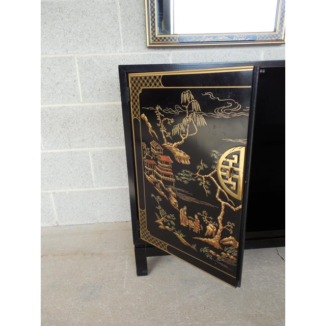 Drexel Et Cetera Black Lacquer Chinoiserie Decorated Console & Mirror For Sale - Image 9 of 12