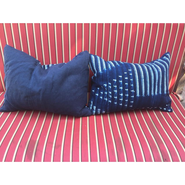 Mud Cloth Pillows Indigo - A Pair - Image 3 of 4