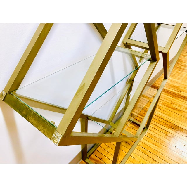 Mid Century Modern Metal and Glass Square Diamond Etagere Attr. Milo Baughman - MCM Shelving Unit Display Plant Stand For Sale In Milwaukee - Image 6 of 8