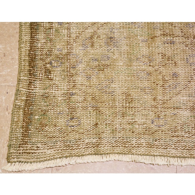 "Boho Chic Vintage Turkish Neutral Hand Spun Wool Runner Rug - 2'11""x10'9"" For Sale - Image 3 of 5"