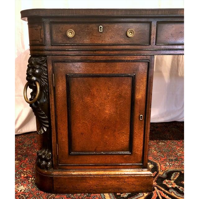 "Early 20th Century Antique English Mahogany ""Duke of Wellington"" Desk, Circa 1910-1920. For Sale - Image 5 of 6"