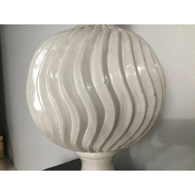 Monumental Ceramic Double Gourd Lamps with Shades - a Pair For Sale - Image 9 of 12