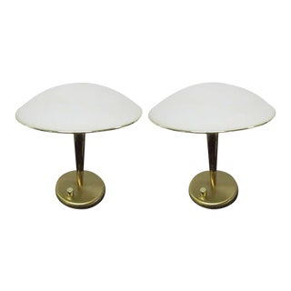 Pair of Italian Brass and Frosted Dome Desk Lamps For Sale