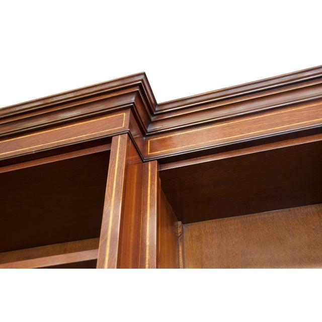 English Satinwood Inlaid Mahogany Triple Bookcase For Sale - Image 4 of 5