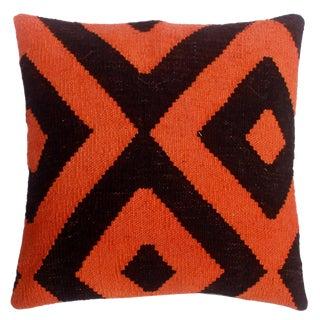 "Dewayne Black/Orange Hand-Woven Kilim Throw Pillow(18""x18"") For Sale"