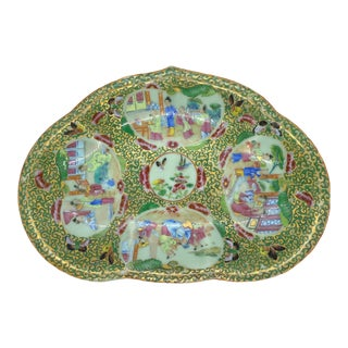 Chinese Celadon Rose Mandarin Crescent-Shaped Bone Dish, Canton, Circa 1890 For Sale