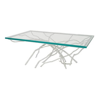 Contemporary Rustic Style White Painted Iron Faux Twig Design Coffee Table For Sale