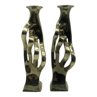 Vintage Brass Modern Italian Abstract Sculptures - a Pair For Sale