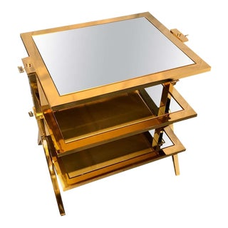 Lorin Marsh Design Three-Tiered Brass and Mirrored Glass Side Table For Sale