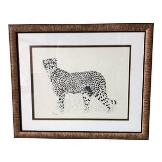 Vintage Hand Signed Cheetah Art