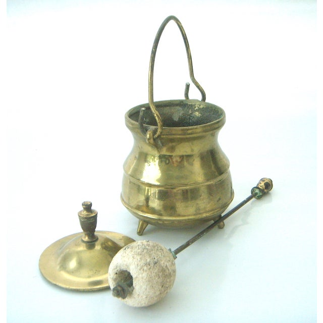 Vintage Brass Coal Scuttle & Pumice Fireplace Lighting Set - Image 6 of 8