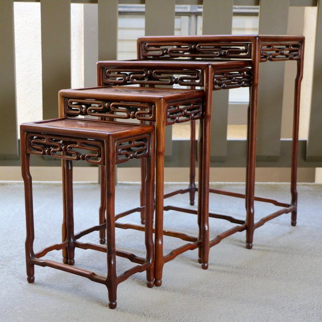 Chinese Rosewood Nesting Tables Set Of 4 Chairish
