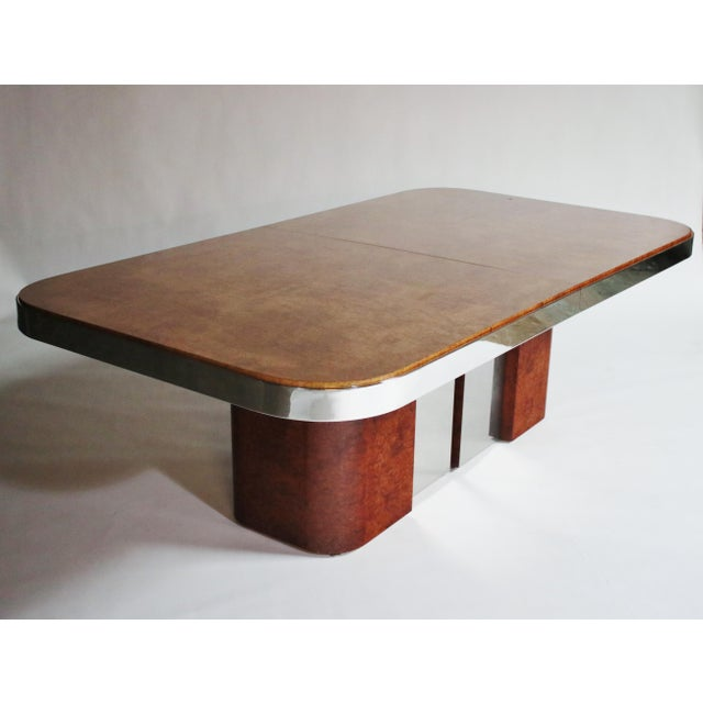 Burl Wood and Steel Dining Table For Sale - Image 10 of 10