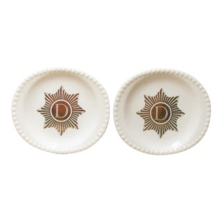 Gilt Monogram 'D' Plates - A Pair
