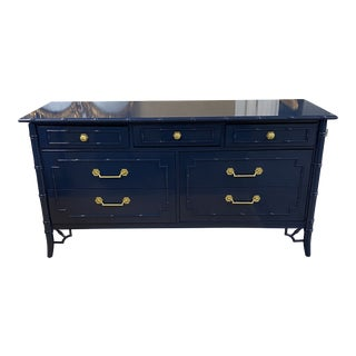 1970s Vintage Thomasville Allegro Faux Bamboo 7 Drawer Dresser For Sale