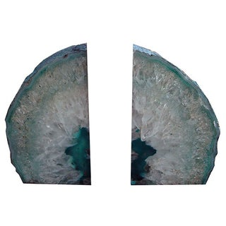 Large Teal Blue Crystal Agate Bookends For Sale