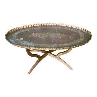 Copper Pie Crust Tray Table For Sale