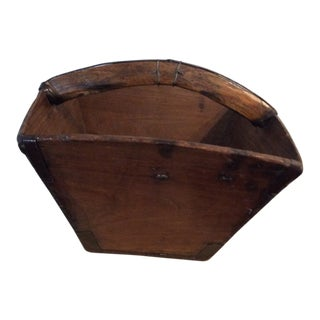 19th Century Chinese Wooden Grain Basket For Sale