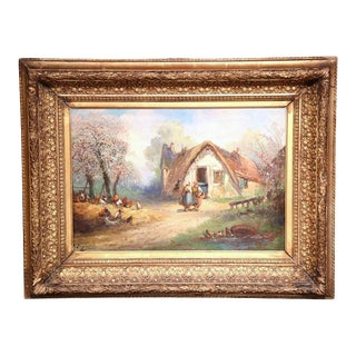 19th Century French Oil on Canvas Country Scene Painting For Sale