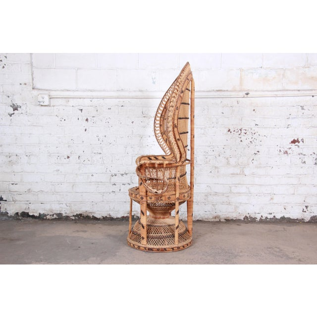"1970s Bohemian Wicker ""Emanuelle"" Peacock Chair For Sale - Image 9 of 13"