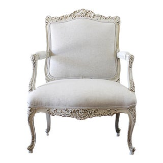 Mid Century Vintage Louis XV Stye French Painted and Upholstered Open Arm Chair For Sale