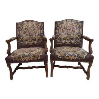 Antique French Needlepoint Chairs - A Pair For Sale