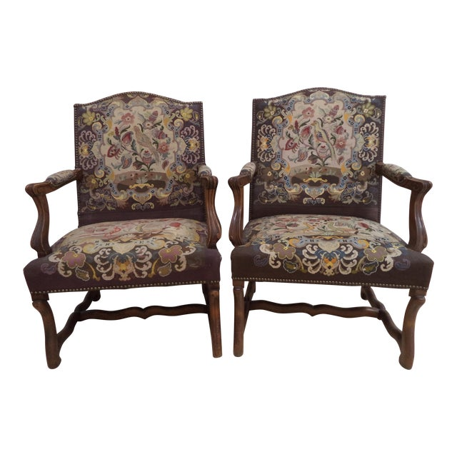 Antique French Needlepoint Chairs - A Pair For Sale - Antique French Needlepoint Chairs - A Pair Chairish