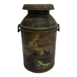 Vintage Rustic Country Metal Milk Can With Lid For Sale