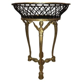 19th-20th Early Empire Bronze Basket or Jardinière on Figural Gilt Bronze Stand For Sale